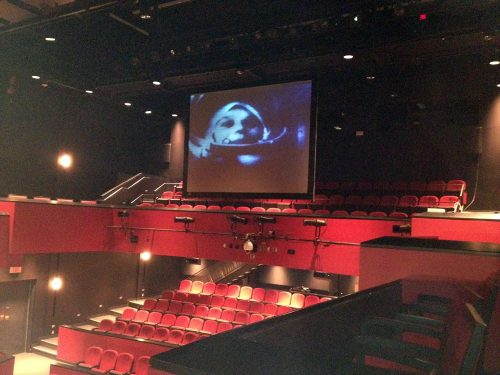 Image of Comrade Valentina video projection.