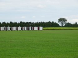 Image of green grass field with containers in the distance.