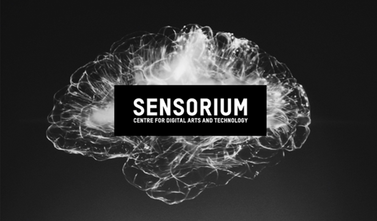 Graphic design image of a swirl of white, shaped like a brain on a black background with the Sensorium: Centre for Digital Arts and Technology logo in the centre.