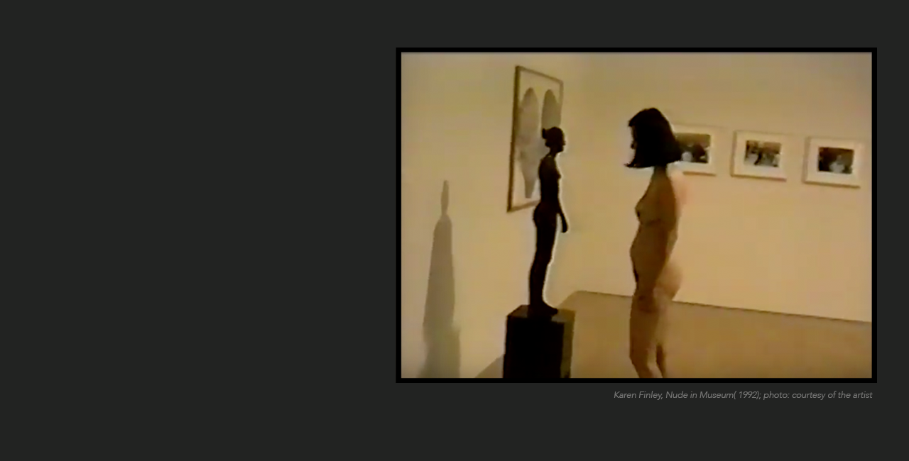 Karen Finley, Nude in Museum (1992); photo: courtesy of the artist.