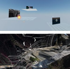 A split screen. Top shows three platforms floating in a blue void, each with a rectangle showing an image. The middle image is highlighted. The bottom pane looks like outer space, with land-like forms and spiraling point-clouds swirling in the void.