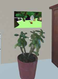 A digital room with a potted plant in the foreground. Behind the plant is a rectangle that shows bright green grass, trees and a floating sculptural form.