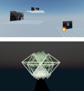 A split screen. Top shows three platforms floating in a blue void, each with a rectangle showing an image. The bottom image is highlighted. The bottom pane shows a digital black void with a glowing white geometric fractal structure floating in it.