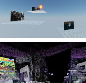 A split screen. Top shows three platforms floating in a blue void, each with a rectangle showing an image. The top image is highlighted. The bottom pane shows a digital world filled with point cloud architecture and objects.