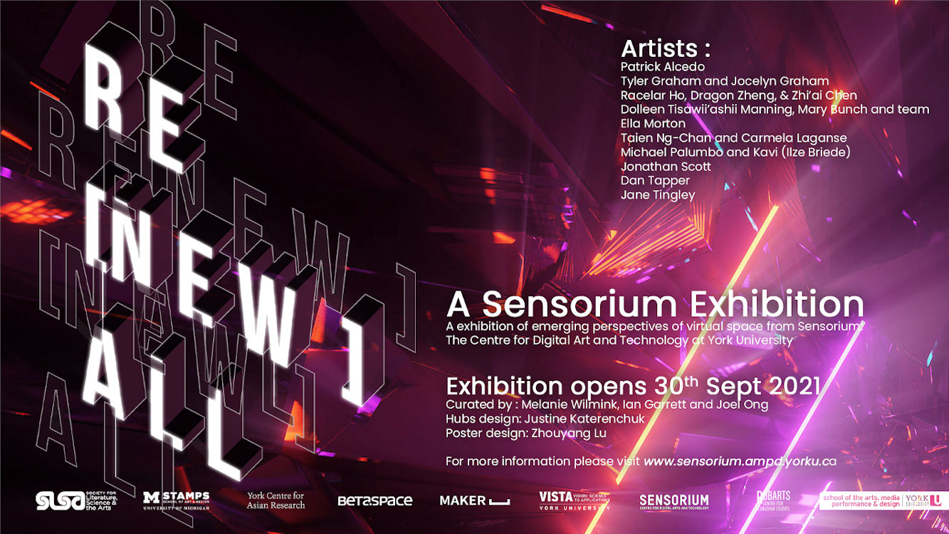 Poster for Re[new]all exhibition. Lists contributor and artists names, sponsor logos and exhibit opening 30 Sept 2021
