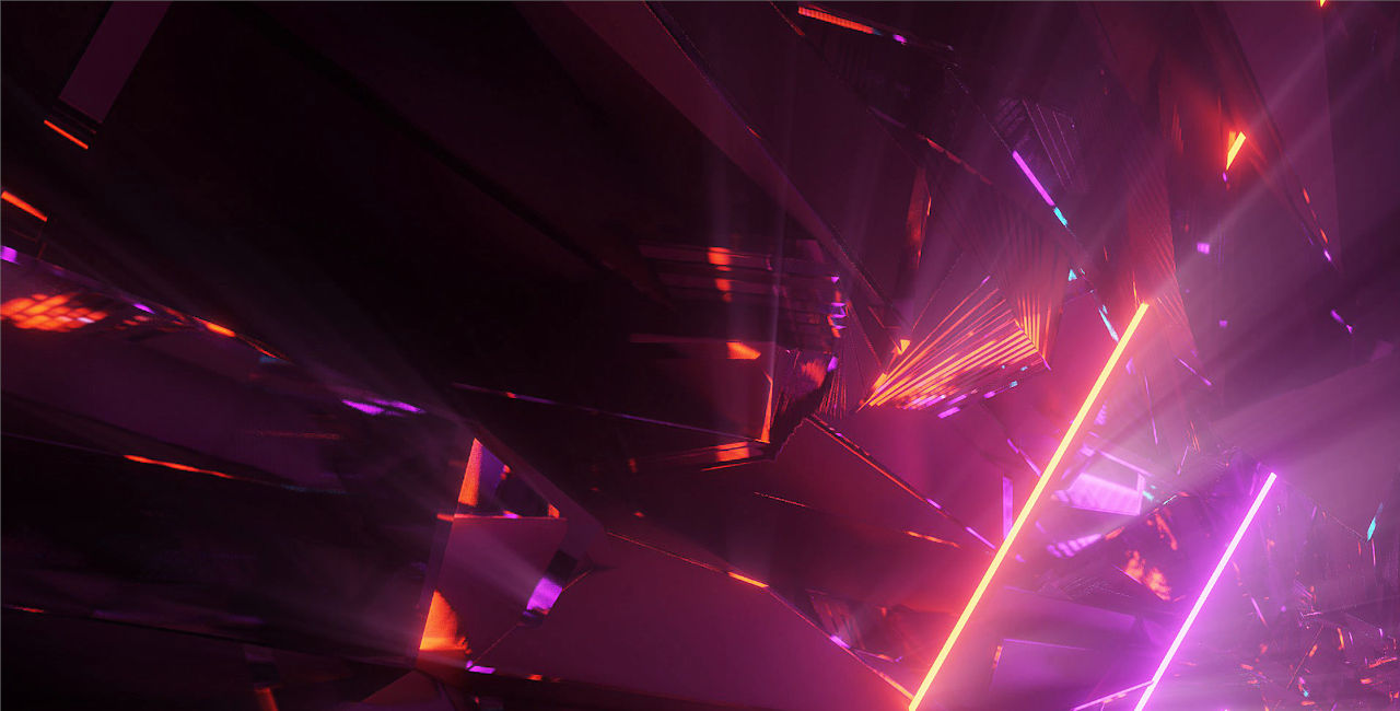 An abstract swirl of digital-style shards of purple and orange colour.