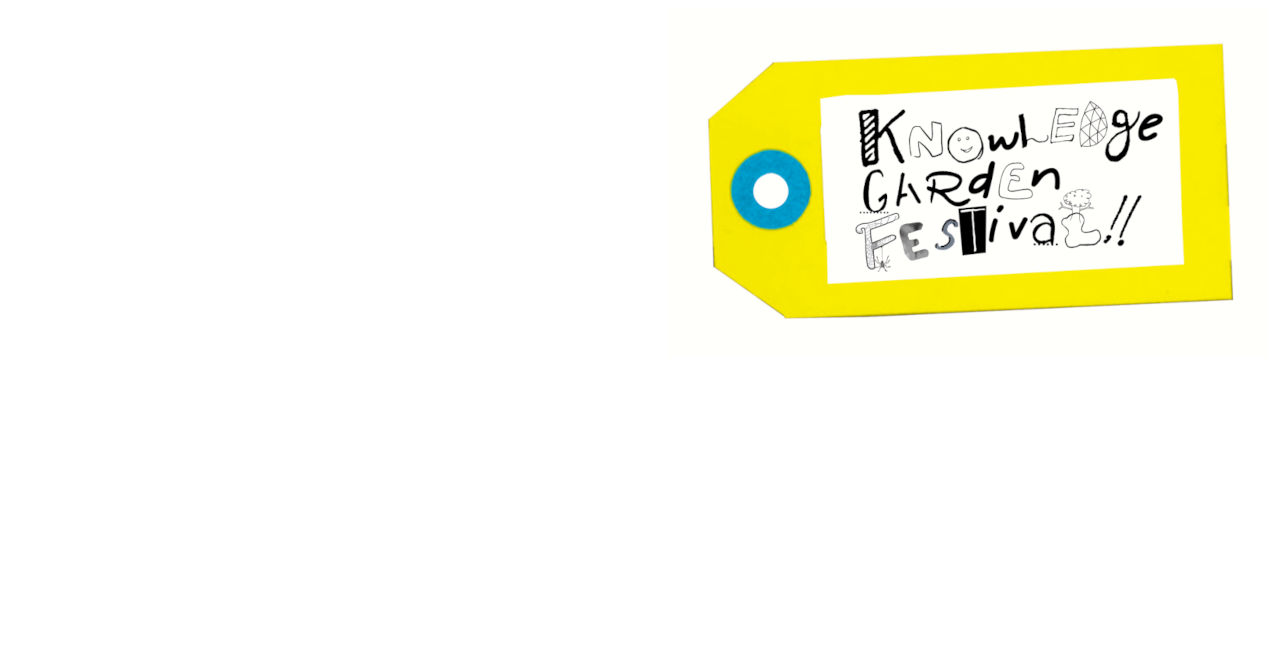 """A white background with a yellow paper label tag in the right corner. The tag has a blue hole for attaching to an object and a label that reads """"Knowledge Garden Festival"""" in a playful, hand-drawn font."""